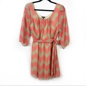 Lily Rose Coral and Tan Chevron Dress